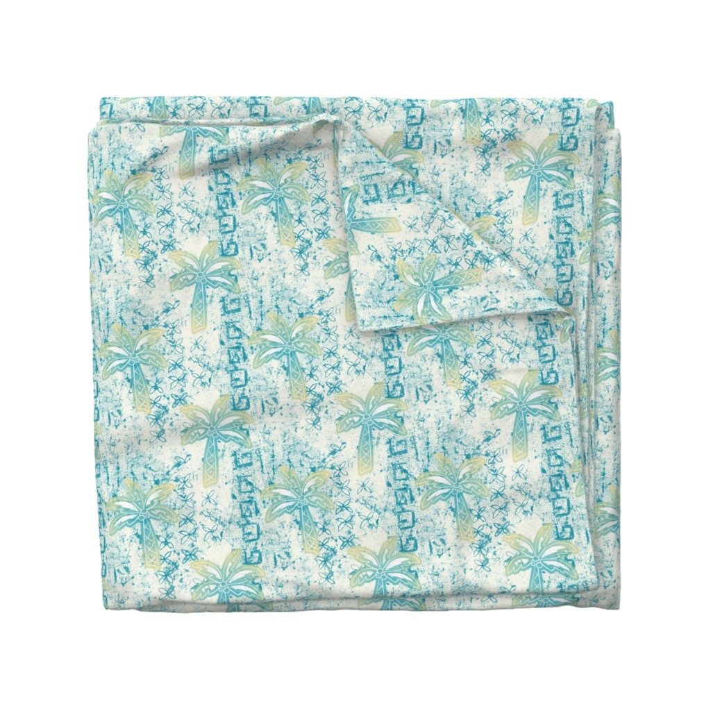 Wyandotte Duvet Cover featuring palms batik - teal by designed_by_debby