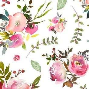 Watercolor Peonies & Roses - Floral Pink Plum Blush Flowers Garden Blooms Baby Girl Nursery A