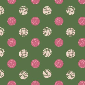 Doodle Buttons Green Pink