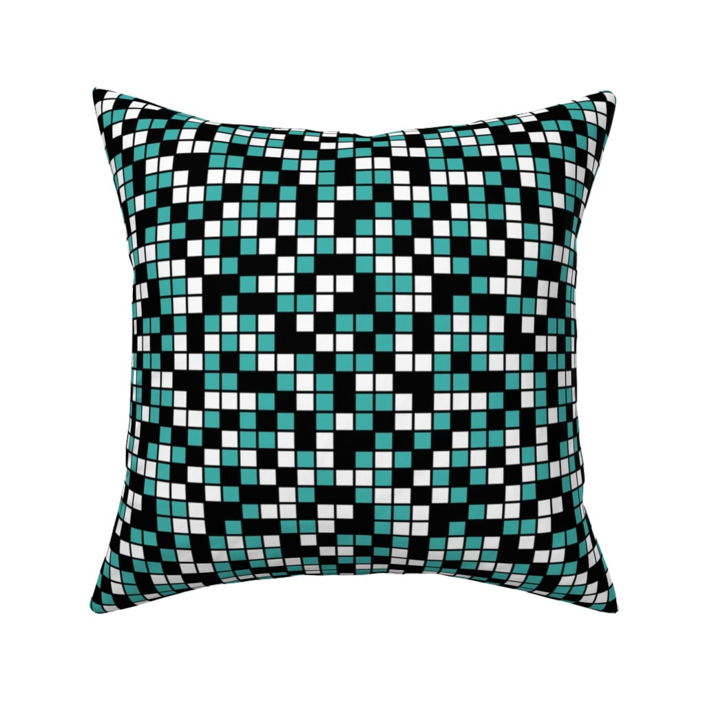 Catalan Throw Pillow featuring Medium Mosaic Squares in Black, Verdigris, and White by mtothefifthpower