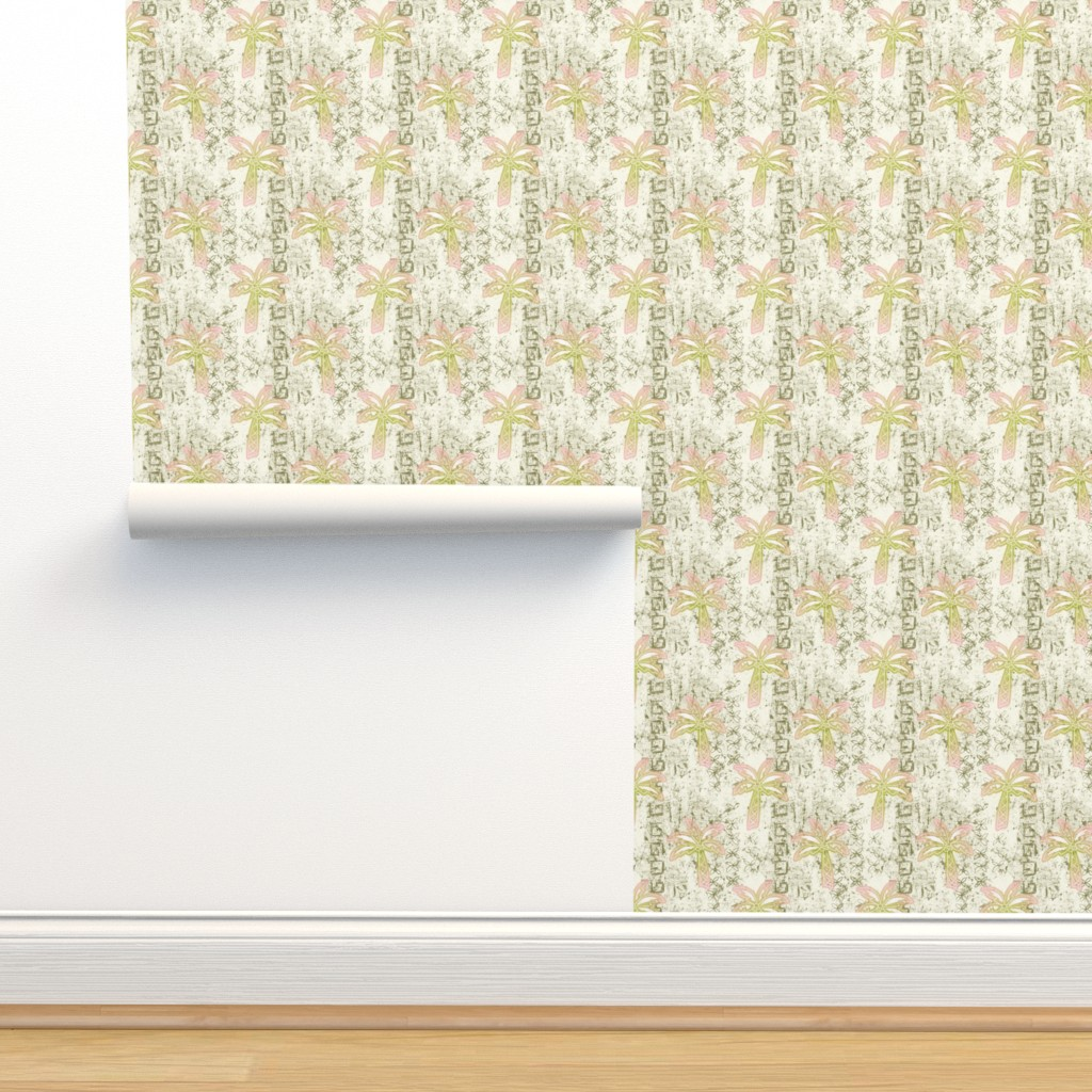 Isobar Durable Wallpaper featuring batik palms - khaki by designed_by_debby