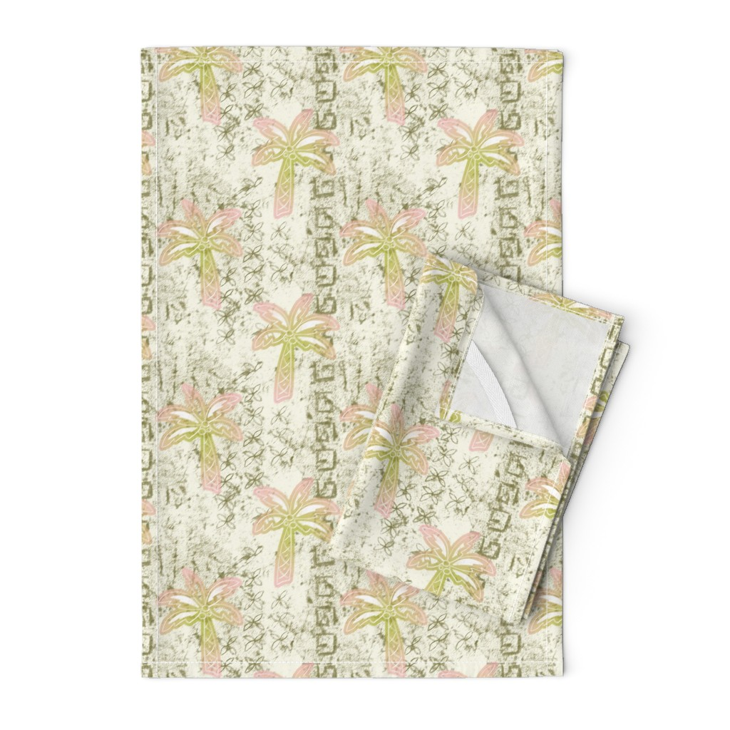 Orpington Tea Towels featuring batik palms - khaki by designed_by_debby