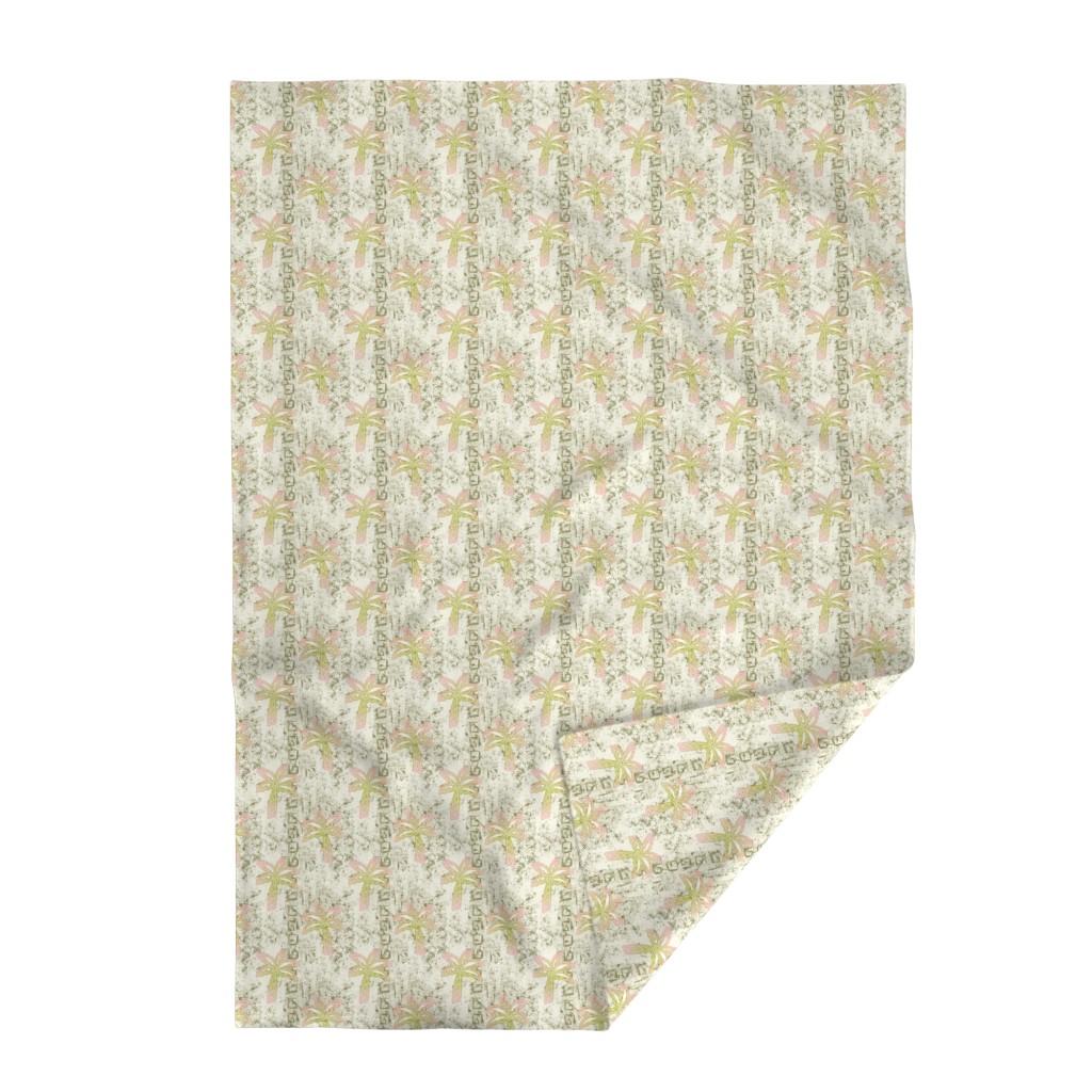 Lakenvelder Throw Blanket featuring batik palms - khaki by designed_by_debby
