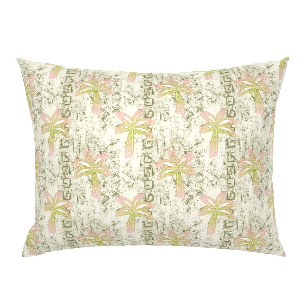 Campine Pillow Sham featuring batik palms - khaki by designed_by_debby