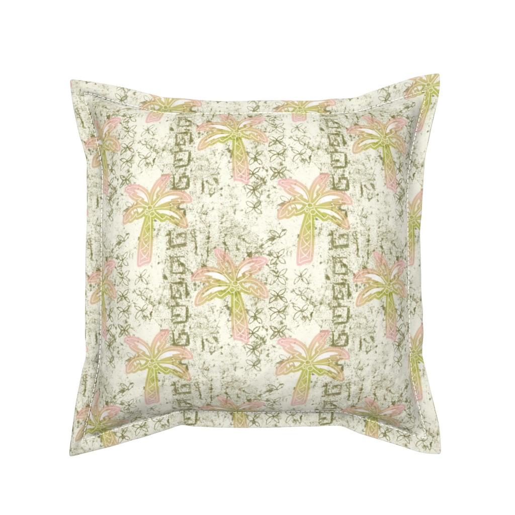 Serama Throw Pillow featuring batik palms - khaki by designed_by_debby