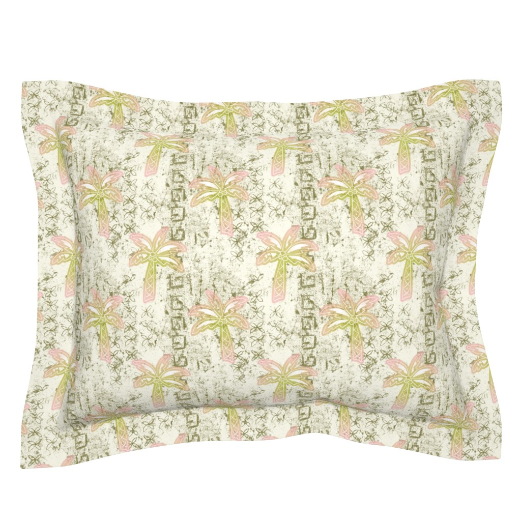 Sebright Pillow Sham featuring batik palms - khaki by designed_by_debby