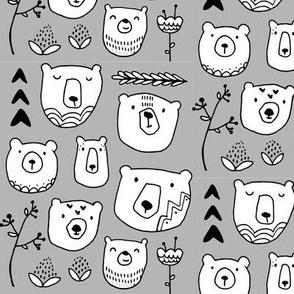 Bear Faces - Gray
