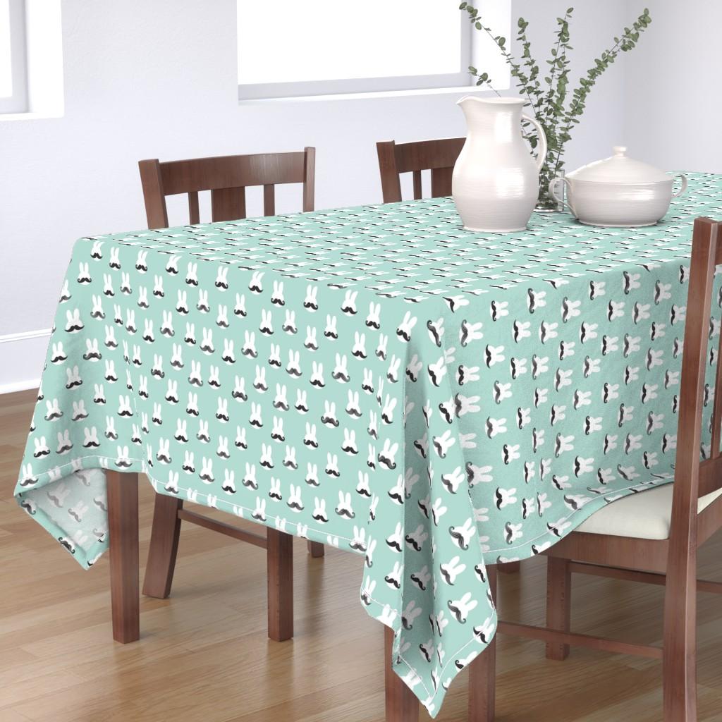 Bantam Rectangular Tablecloth featuring mr. bunny - dark mint - mustache rabbits easter fabric by littlearrowdesign
