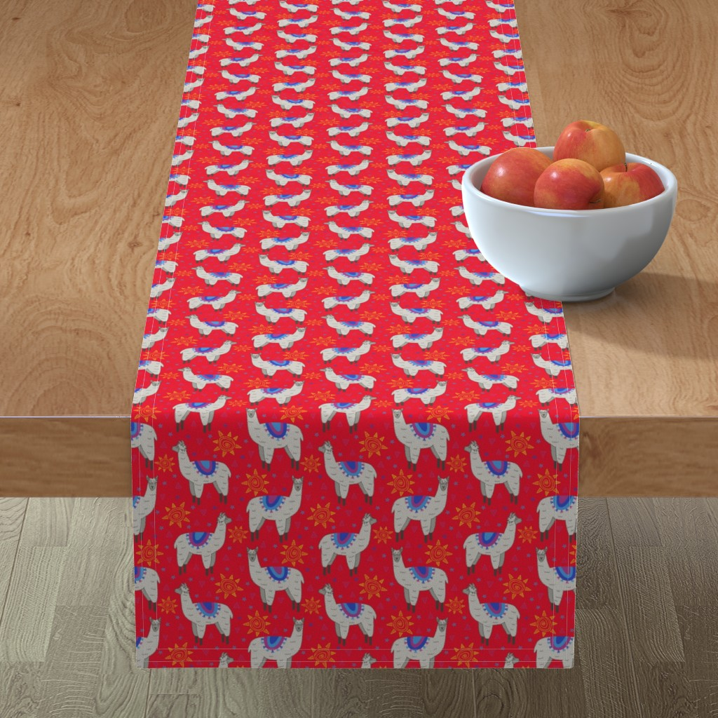 Minorca Table Runner featuring Llama Love (red) by robyriker