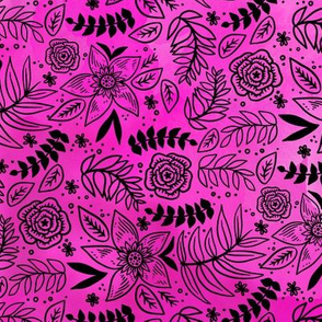 Black Floral on Hot Pink Watercolor