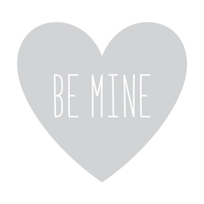 be mine love heart light grey » plush + pillows // fat quarter