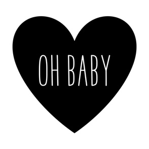 oh baby love heart black and white » plush + pillows // fat quarter