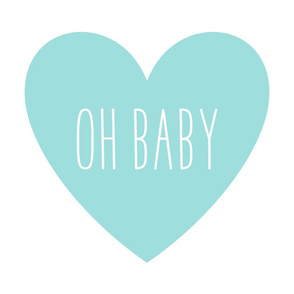 oh baby love heart light teal » plush + pillows // fat quarter