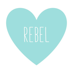 rebel love heart light teal » plush + pillows // fat quarter #9EDFDD