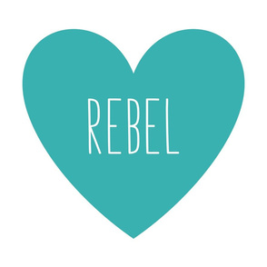 rebel love heart teal » plush + pillows // fat quarter