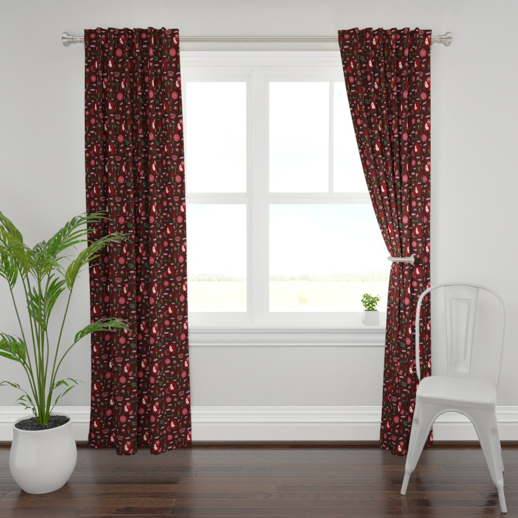 Plymouth Curtain Panel featuring persephone dark red by colorofmagic