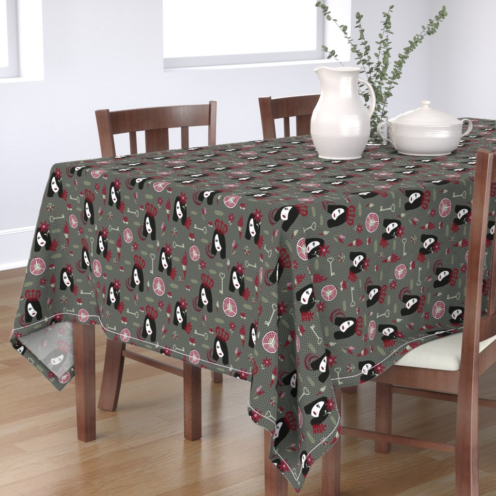 Bantam Rectangular Tablecloth featuring persephone olive by colorofmagic