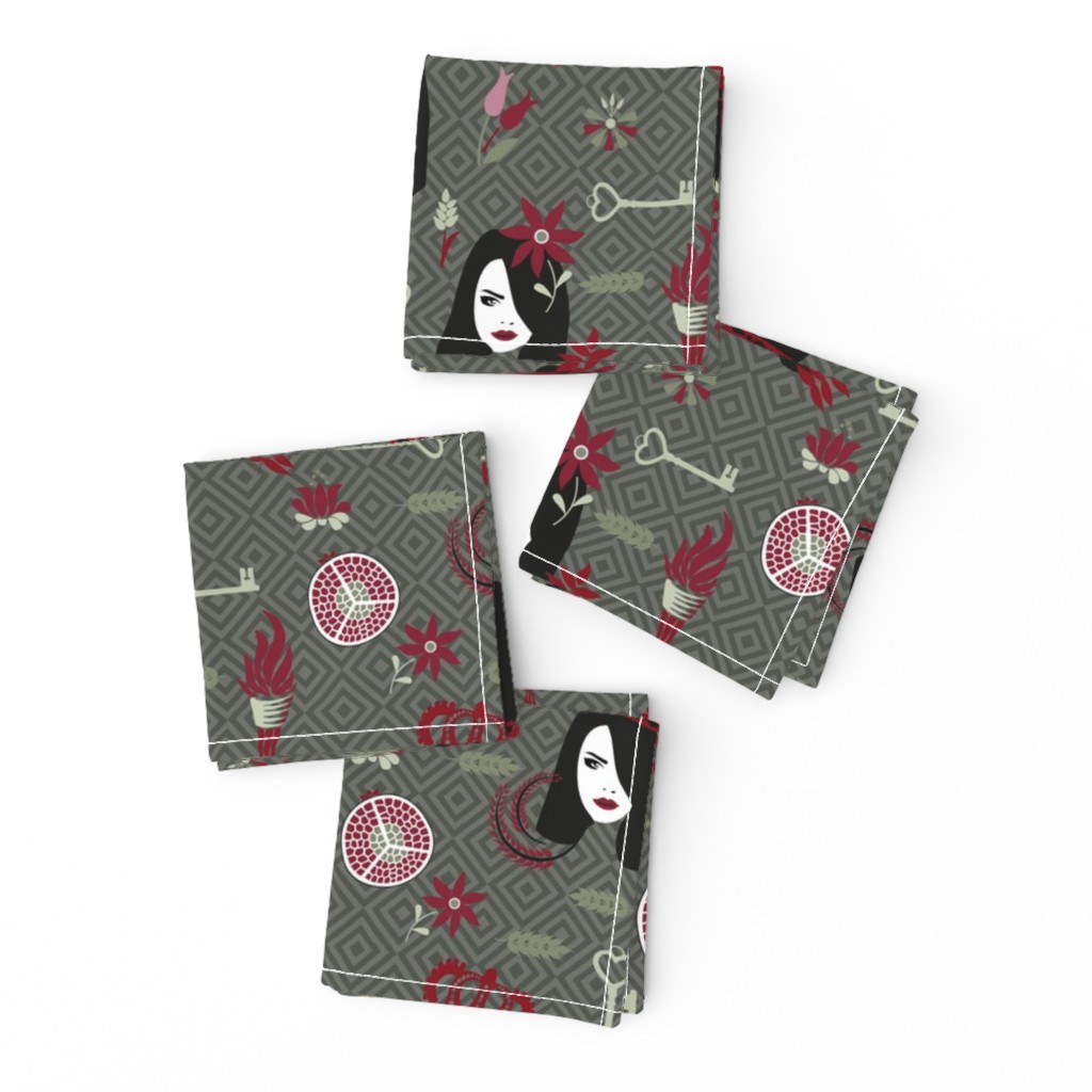 Frizzle Cocktail Napkins featuring persephone olive by colorofmagic