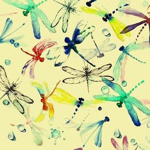Vivid watercolor dragonflies  on yellow