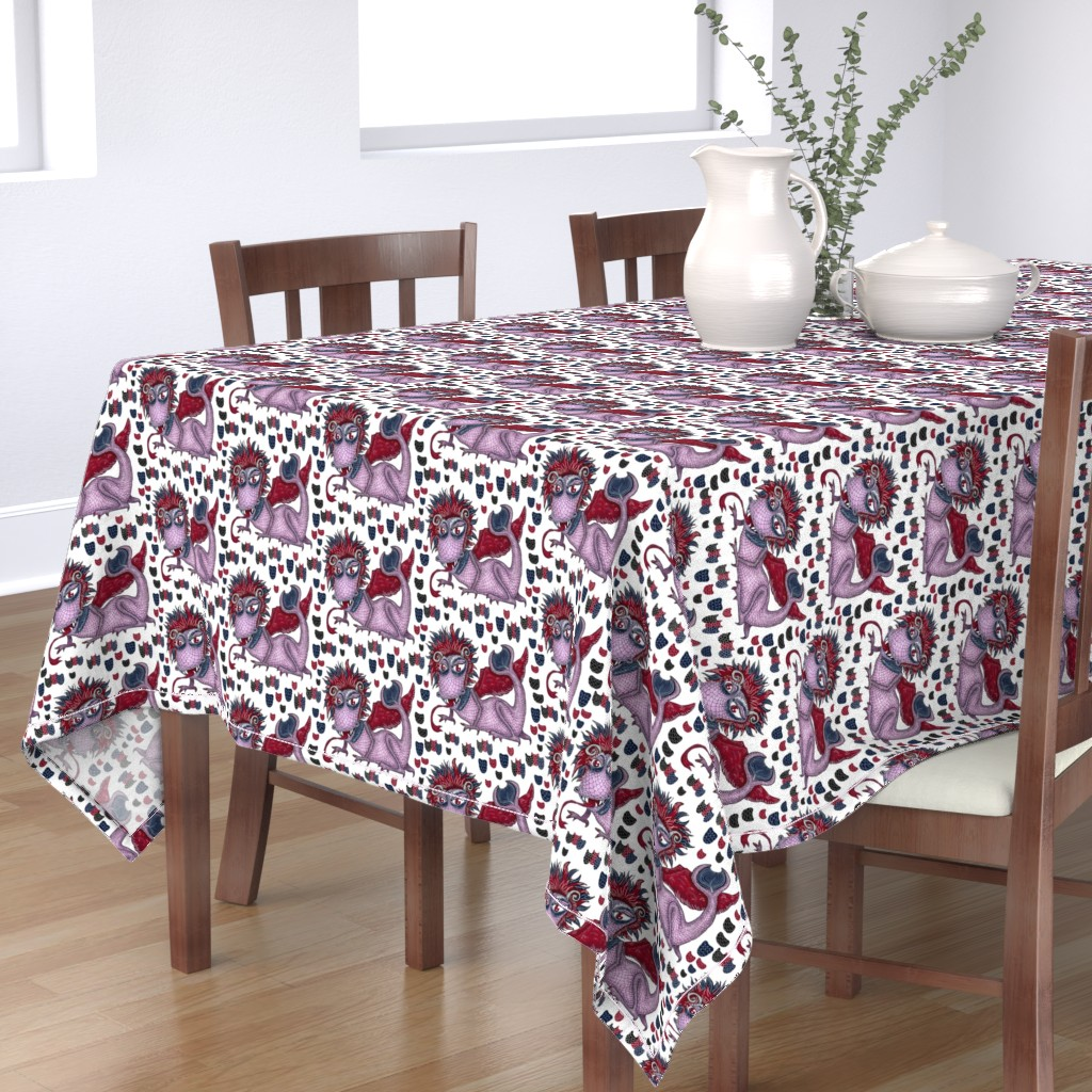 Bantam Rectangular Tablecloth featuring limited palette winged dragon, large scale, red navy blue violet purple lavender orchid lilac white black by amy_g