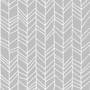 Grey Crazy Chevron Herringbone Gray Hand Drawn Geometric Pattern GingerLous