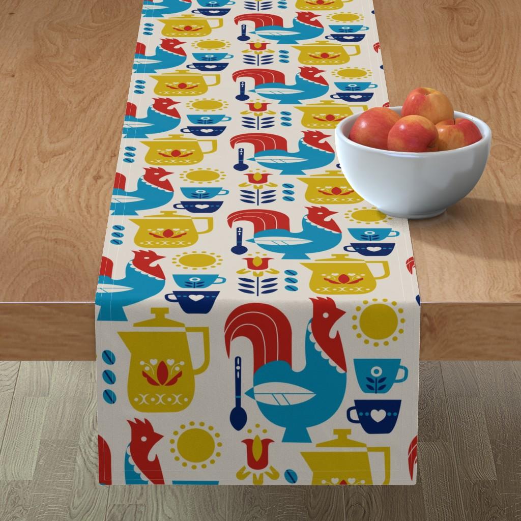 Minorca Table Runner featuring Morning Kaffe XL by cindylindgren