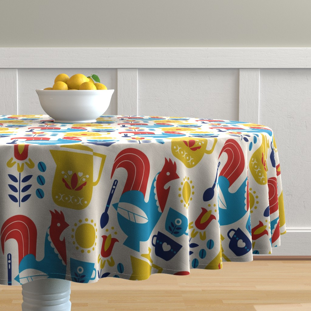 Malay Round Tablecloth featuring Morning Kaffe XL by cindylindgren