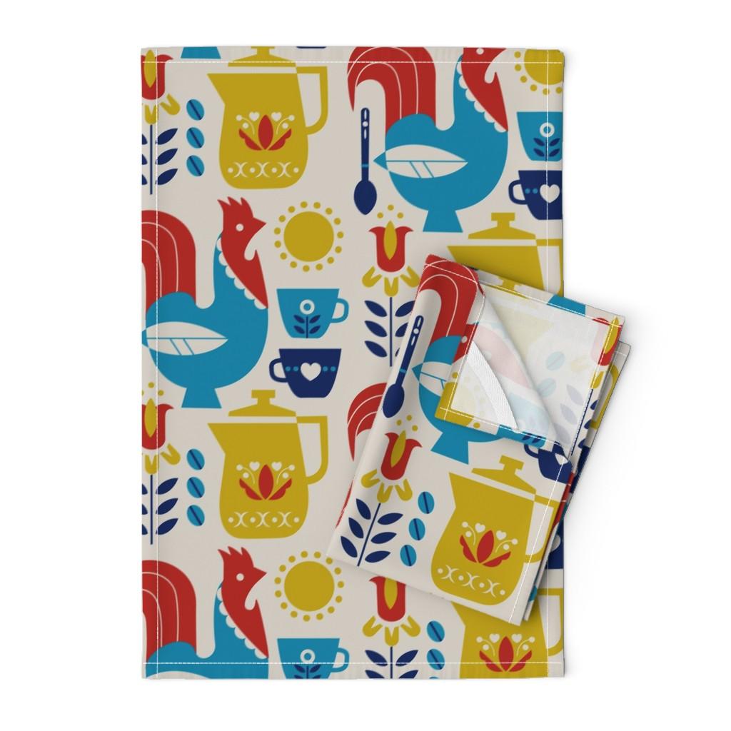 Orpington Tea Towels featuring Morning Kaffe XL by cindylindgren