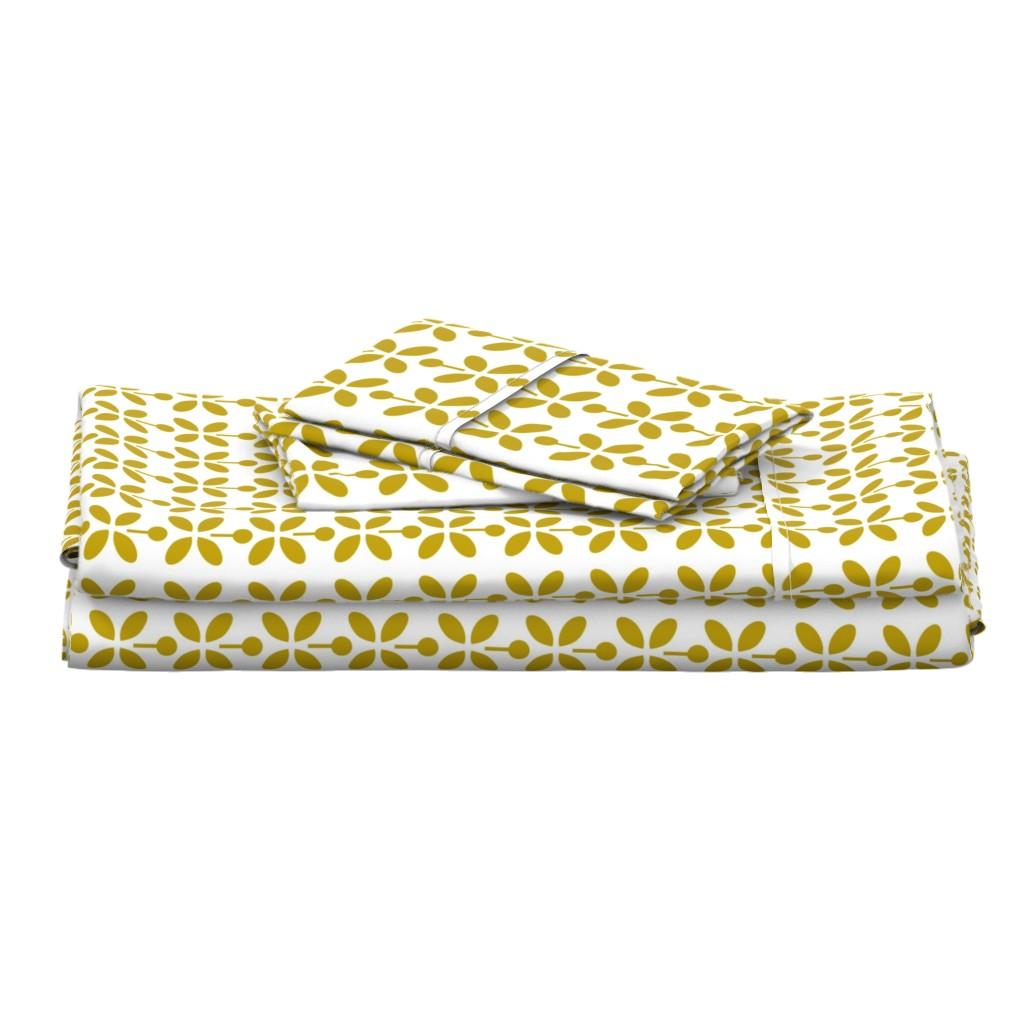 Langshan Full Bed Set featuring petal dots yellow by cindylindgren