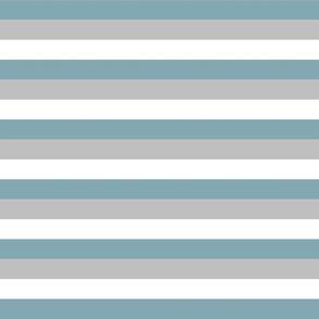 "1/2"" Stripes - Blue, Grey + White"