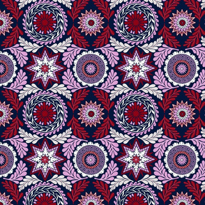 Greek Mandalas in Orchid and Navy