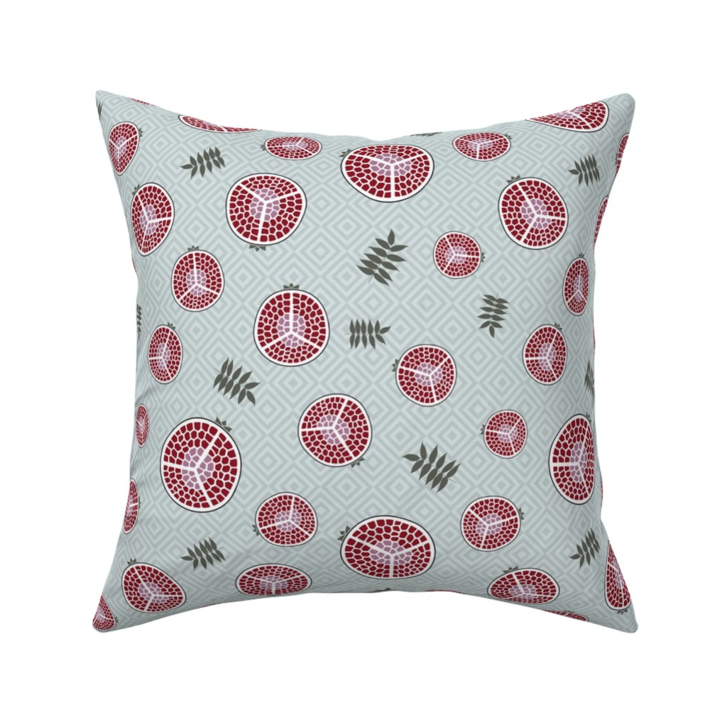 Catalan Throw Pillow featuring pomegranates bright green by colorofmagic