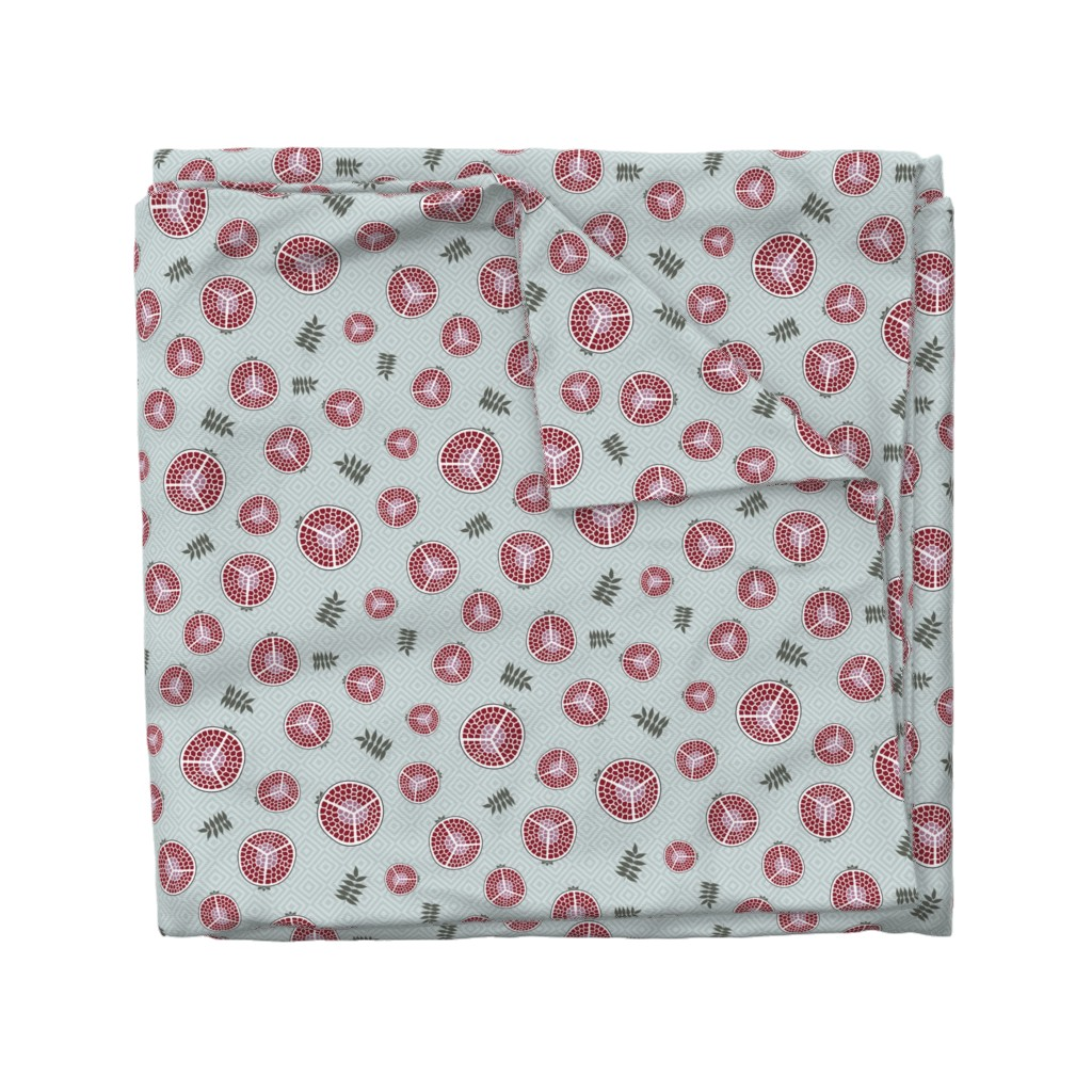Wyandotte Duvet Cover featuring pomegranates bright green by colorofmagic