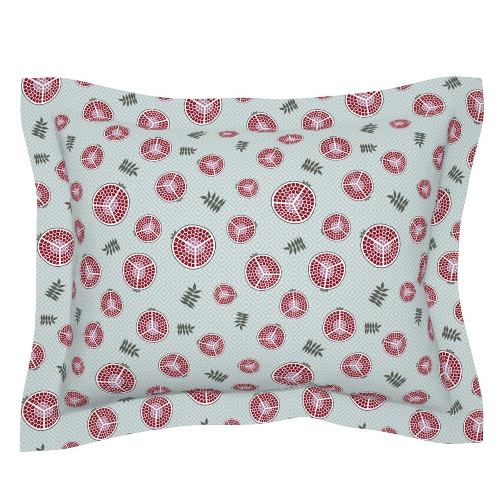 Sebright Pillow Sham featuring pomegranates bright green by colorofmagic