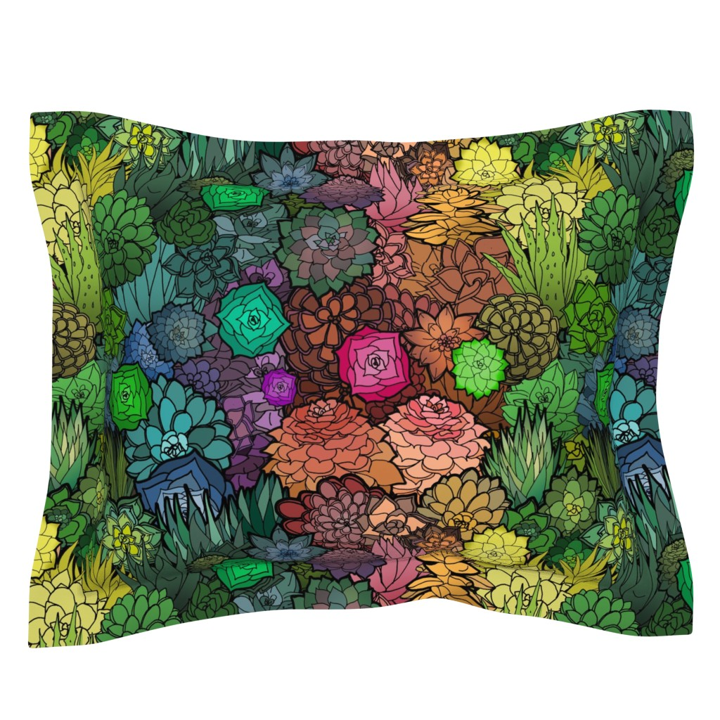 Sebright Pillow Sham featuring Succulent Rainbow by irishvikingdesigns