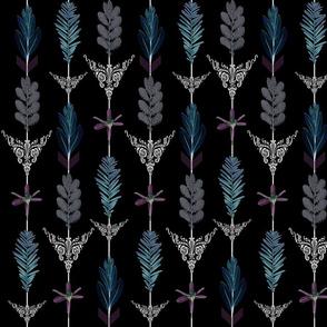 flower arrows teal violet