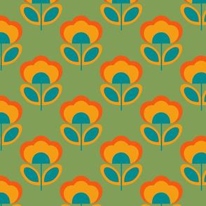retro tulips green