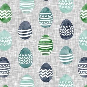 Easter eggs - watercolor multi eggs blue and green on grey