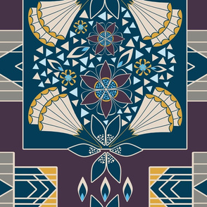 Art Deco Blue, Gold and Wine Large Scale Geometric Floral Blocks WholeCloth Quilt by Amborela