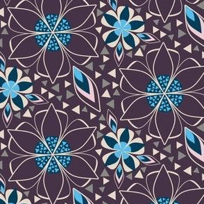 Geometric Flowers, Art Deco Style Floral in Plum, Pink, and Blue