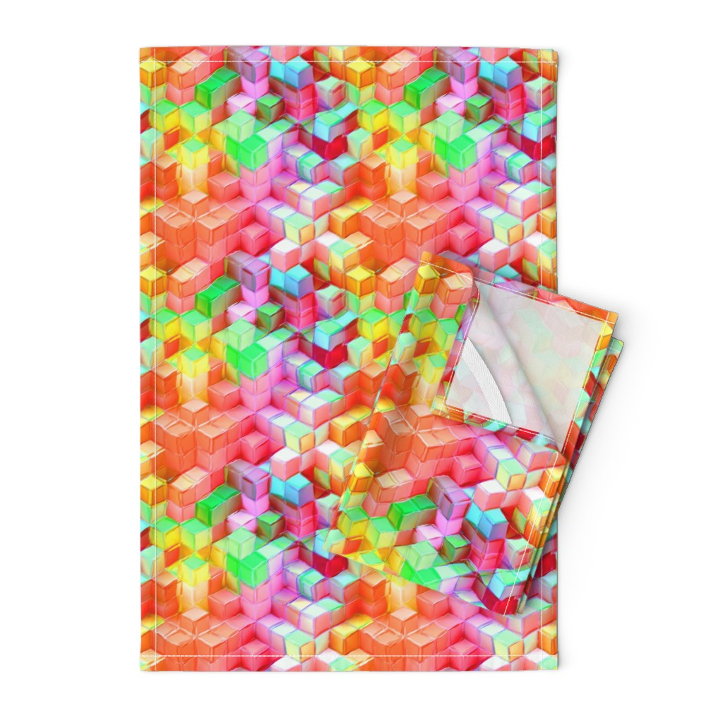 Orpington Tea Towels featuring MARSHMALLOW ESCHER MAGIC CUBES 3D CHAOS FRUIT SALAD FRUITY SUMMER TONES by paysmage