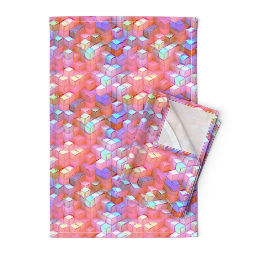 Orpington Tea Towels featuring MARSHMALLOW ESCHER MAGIC CUBES CHAOS PASTEL PINK BLUSH SHERBET by paysmage
