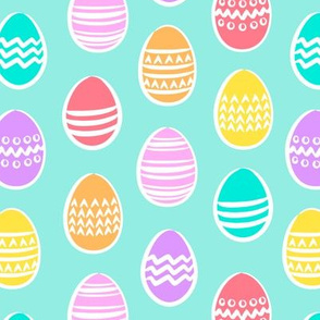 Easter eggs - brights on blue