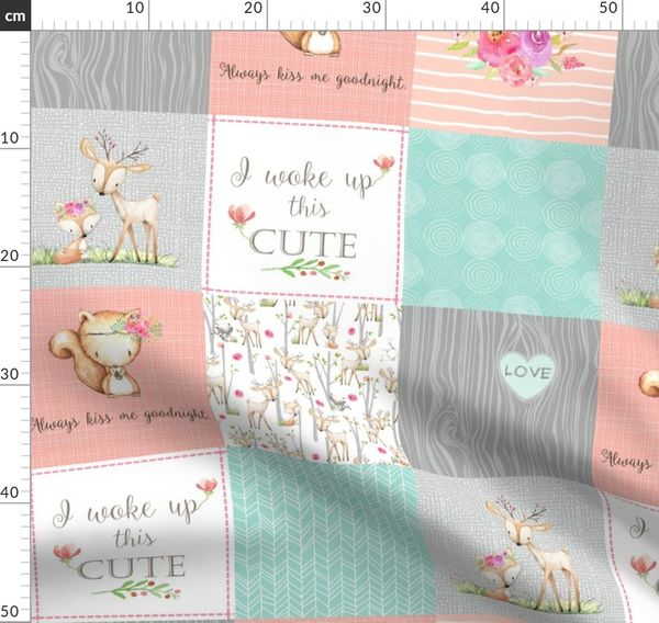 Fabric By The Yard Woodland Patchwork Nursery Quilt Baby Blanket Deer Fox Bedding Peach Mint Gray Gingerlous