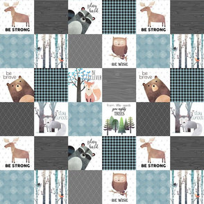 "3"" BLOCKS- Woodland Critters Patchwork Quilt - Bear Moose Fox Raccoon Wolf, Gray & Blue Design"