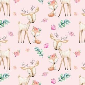 Pink Sweet Deer & Fox - Pink Flowers Woodland Animals Baby Girl Nursery Bedding