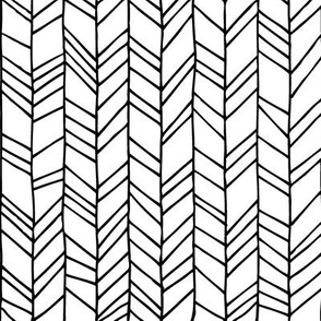 Monochrome Crazy Chevron Herringbone Hand Drawn Geometric Pattern GingerLous