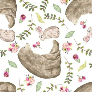 Bear & Bunny Friends (rotated) - Floral Woodland Baby Girls Nursery Bedding GingerLous A