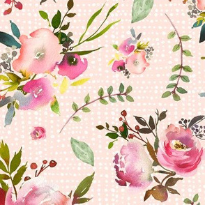 Watercolor Peonies & Roses (pink texture) - Floral Pink Plum Blush Flowers Garden Blooms Baby Girl Nursery A