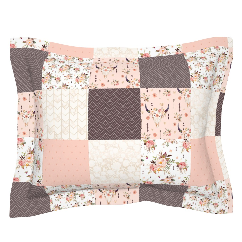 Sebright Pillow Sham featuring Boho Aztec Bison Skull Flowers - Cheater Quilt Wholecloth - Peach + Brown Blanket by gingerlous